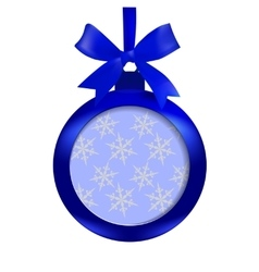 Card blue ball with a bow and place for an vector