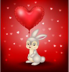 cartoon bunny holding red heart balloons vector image vector image