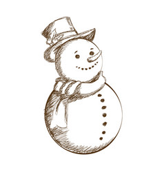 christmas snowman vintage decoration with hat vector image