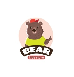 cute cartoon bear logo Funny animal mascot vector image vector image