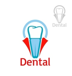 Dental health tooth implant icon emblem vector image