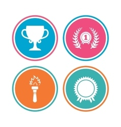 First place award cup icons Prize for winner vector image vector image
