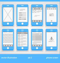 Flat phone screen set 2 vector