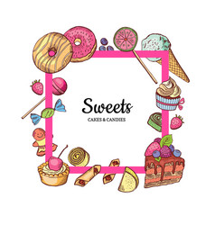 frame with place for text hand drawn sweets vector image vector image