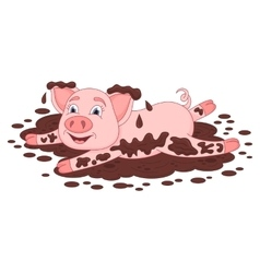 Funny piggy lies and smiling on dirt puddle vector