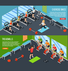 gym isometric banner set vector image