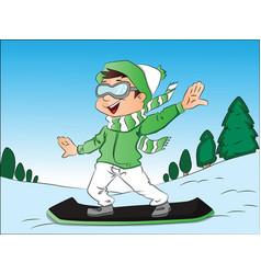 Happy boy snowboarding vector