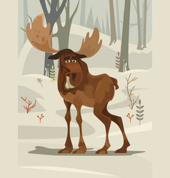 Happy smiling elk character mascot walking forest vector