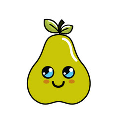 Kawaii cute thinking pear fruit vector