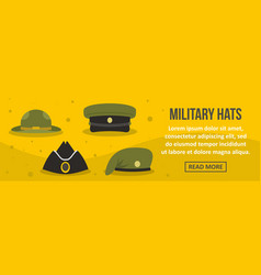 Military hats banner horizontal concept vector