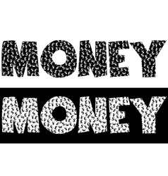 Money typography made of currency symbols vector image