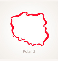 Outline map of poland marked with red line vector