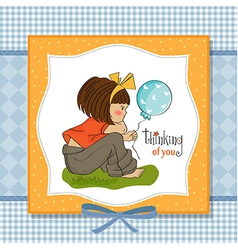 pretty young girl sitting vector image