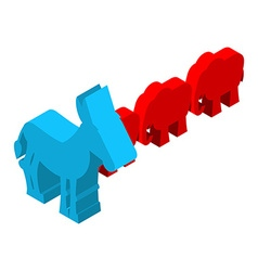 Red elephants against blue donkey symbols of usa vector