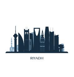 riyadh skyline monochrome silhouette vector image vector image