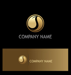 round gold leaf ecology logo vector image