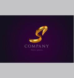 s gold golden alphabet letter logo icon design vector image vector image