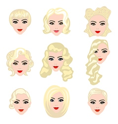 Set of blond hair styling vector image vector image