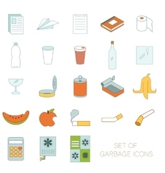 Set of colour garbage signs vector image vector image