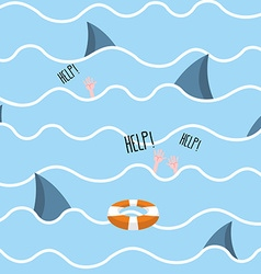 Shark in sea seamless pattern Man drowns Scenery vector image