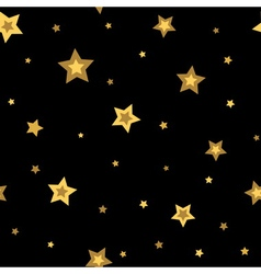 Stars seamless pattern gold black 3D vector image vector image