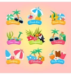 Summer Party Labels And Elements Set Isolated vector image vector image