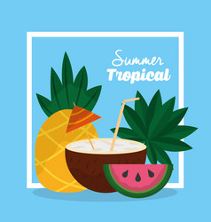summer tropical cocktail coconut pineapple and vector image