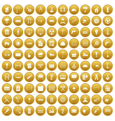 100 building materials icons set gold vector