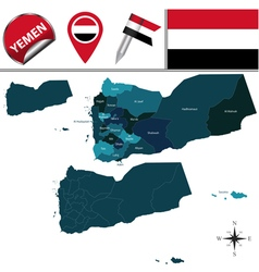 Yemen map with named divisions vector