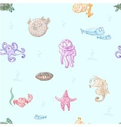 cartoon sea creatures vector image