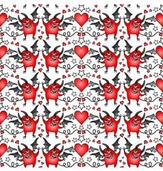 Seamless background with cheerful devils and heart vector
