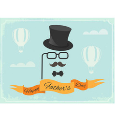 Happy fathers day poster greetings in retro style vector