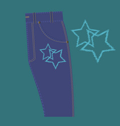 Star pattern on the jeans vector