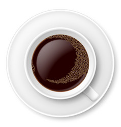 White mug of coffee with foam and saucer on white vector