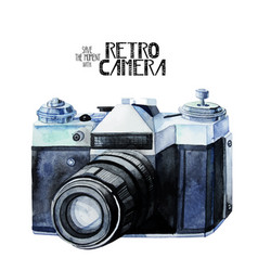 Watercolor vintage retro camera vector