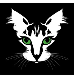 Head of a cat with green eyes vector