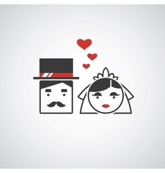 Bride and groom icons vector