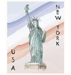 New york statue of liberty hand drawing poster vector