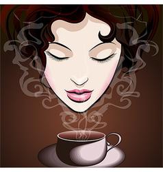 Woman enjoying coffee vector image