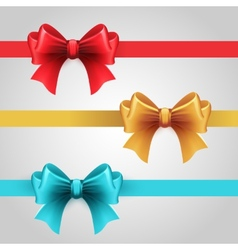 Set of blue red and gold holiday ribbon with bow vector