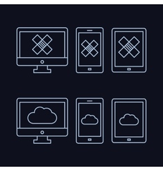 Lines drawn icon set - computer monitor smart vector