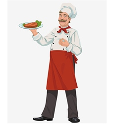 Chef with cooked grill steak vector