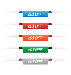 60 percent off paper tag labels vector