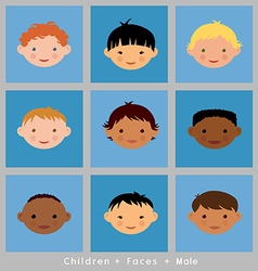 Set cute faces ethnic children boys flat style vector