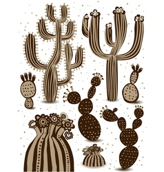 Cactus icon set vector