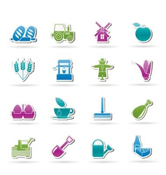 Agriculture and farming icons vector