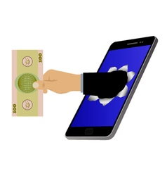 Hole on the screen and hand with banknote vector