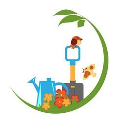 Gardening emblem vector