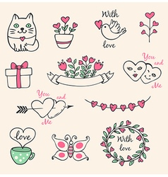 Hand drawn decorative valentine elements vector