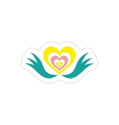 Paper sticker on white background heart wings vector